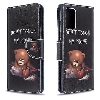 For Samsung Galaxy S20 Ultra Case, Drawing Pattern PU Leather Cover with Stand, Card & Cash Slots, Cute Bear