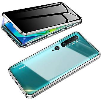 Mobile Schale mit doppelseitigem gehärtetem Glas für XiaoMi CC9 PRO - Silber