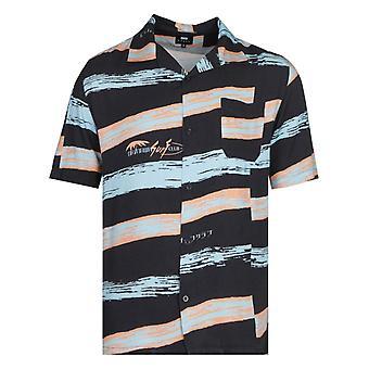 Edwin Korte mouw Okinawa Surf Club Black Resort Shirt
