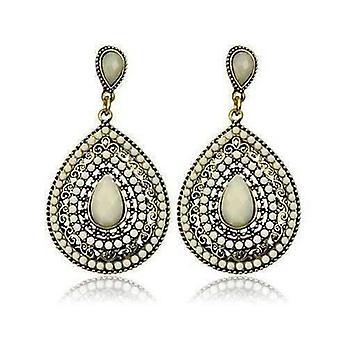 Perlen filigrane Ohrringe in cremigweiß weiß