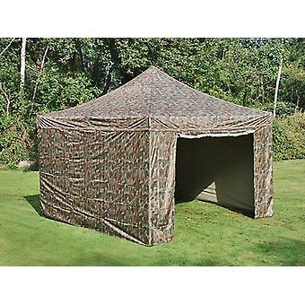 Vouwtent/Easy up tent FleXtents PRO 4x4m Camouflage/Militair, inkl. 4 Zijwanden