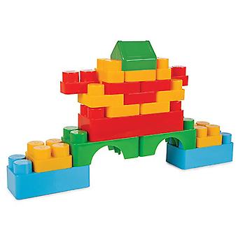 Pilsan Jumbo byggeklosser 03227, fargerike byggeklosser i plastboks 60 stykker fra 1 år