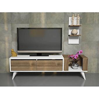 Mobile TV Port Pers Farbe Weiß, Walnuss in Melaminischem Chip, PVC 130x30x38.6 cm, 20x14x50 cm