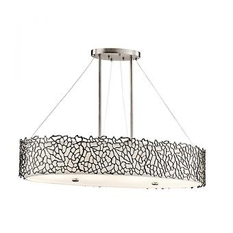 Silver Coral Pendant Light, Pewter, Oval