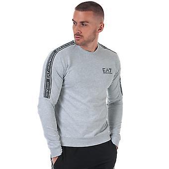 Men's Emporio Armani EA7 Logo Tape Crew Sweatshirt in Grey
