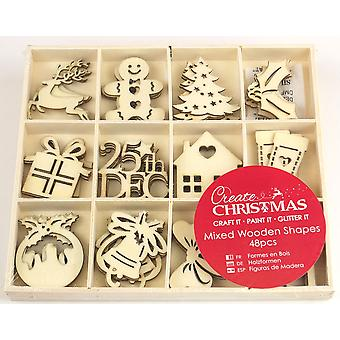 48 Embellecimientos surtidos de madera en forma de Navidad para Papercrafts