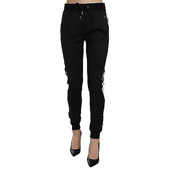 Versace Black Drawstring Trackpants Logo Pants -- PAN6161392