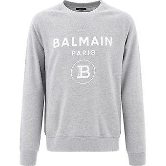 Balmain Uh03279i3619ub Men's Grey Cotton Sweatshirt