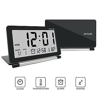 Loskii dc-11 orologio elettronico sveglia da viaggio multifunzionale lcd silenzioso digitale grande schermo pieghevole orologio da tavolo con data di data di temperatura calendario