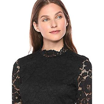 Lark & Ro Women's Long Sleeve Mixed Lace Dress, Black 4