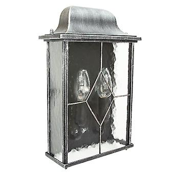 Traditional Outdoor Black/Silver Flush Lantern Light with Clear Cathedral Glass