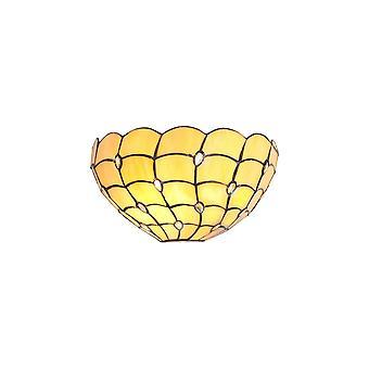 Luminosa Beleuchtung - Tiffany 30cm Wandleuchte, 2 x E14, Beige, klar Kristall