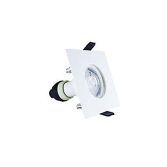 LED Fire Rated Static Downlight Recessed Spotlight Square GU10 Holder Matt White IP65