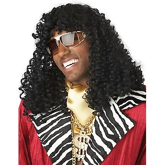 Supa Freakin 1970s 1980s Gangster Pimp Big Daddy Men Costume Wig