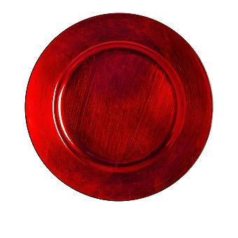 Argon Tableware Single Round Charger Plate - Brushed Metallic Finish - 33cm - Red