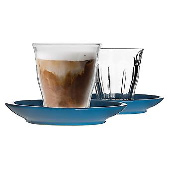 Duralex 12 Piece Picardie Glass Coffee Cup and Ceramic Saucer Set - Modern Style Tumbler Mug for Latte Cappuccino - Blue - 220ml