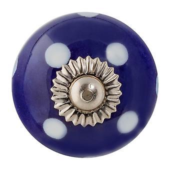Nicola Spring Ceramic Cupboard Cassetto Manopola - Polka Dot Design - Blu scuro / Azzurro
