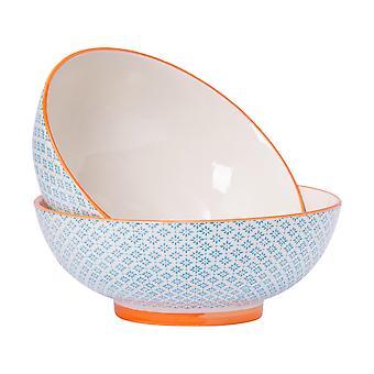 Nicola Spring 2 Piece Hand-Printed Fruit Bowl Set - Japanese Style Porcelain Pasta Salad Serving Bowls - Blue - 31.5cm