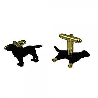 Ties Planet 3d Matte Musta Labradorin koira kultatassujen kalvosinnapit