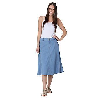 Mid-length denim a-line skirt - size 8 only - lightwash