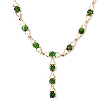 GP-Russian Diopside Enamelled Necklace Size 18 in 14ct Gold Plated Silver