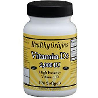 Healthy Origins Vitamin D3, 2000 IU, 120 Soft Gels