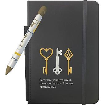 """304, conjunto de regalo del tesoro del lápiz de saludo con 5"""" x 8.25"""" Notebook y 1 lápiz de mensaje giratorio (304)"""