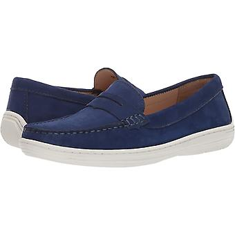 Driver Club USA Unisex Genuine Leather Casual Comfort Slip On Moccasin Penny Loafer Driving Style, fast blue nubuck 4.5 M US Little Kid