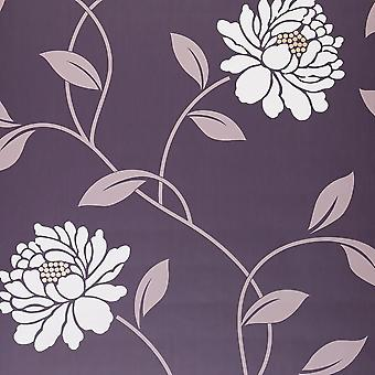 DULUX CAMILLE MULBERRY FLORAL WALLPAPER