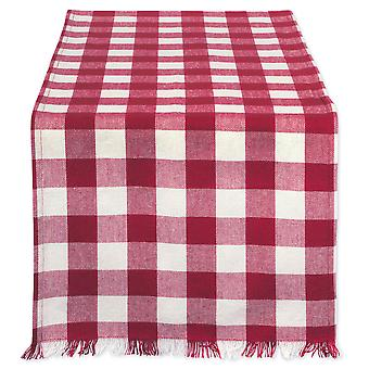 Dii Wine Heavyweight Check Fringed Table Runner