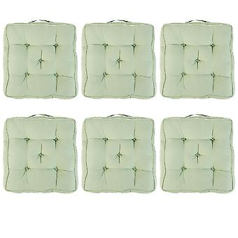 """Green Pack of 6 Cotton Armchair Booster Cushion 4"""" Thick Seat Pad"""