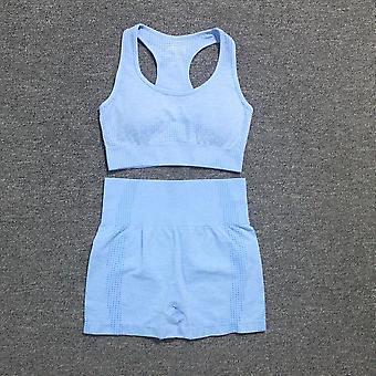 Kvinnor Sport Suit Yoga Set Gym Träningskläder Långärmad Fitness Gröda Sömlös