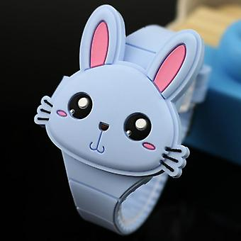 Lovely Rabbit Cartoon Watches Flip Cover Rubber Electronic Student Clock