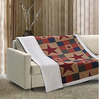 Spura Home Mountain Cabin Patchwork Quilted Sherpa Throw Blanket sofa Bed
