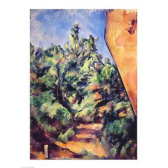Red rock c1895 affisch Skriv av Paul Cezanne