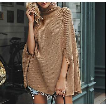 Women's Cloak Pullover High Neck Solid Casual Jumper Sweater