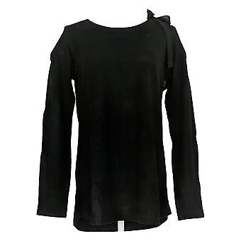 Attitudes par Renee Women's Sweater Cold Shoulder W/ Bow Black A298648