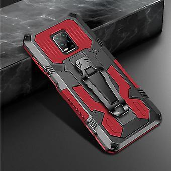 Funda Xiaomi Redmi Note 9 Case - Magnetic Shockproof Case Cover Cas TPU Red + Kickstand