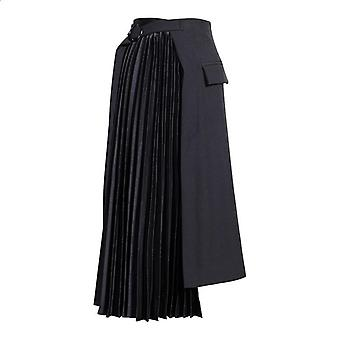 Highwaist ασύμμετρη πτυχωμένη ιδιοσυγκρασία μισό σώμα φούστα, παλίρροια άνοιξη, φθινόπωρο