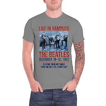 The Beatles T Shirt Live In Hamburg 1962 Officiel Mens New Grey