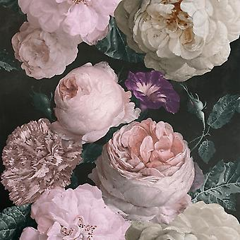 Highgrove Floral Wallpaper Charcoal Arthouse 909300