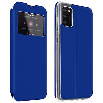 Case for Samsung Galaxy A41 with Window and Card Holder - blue