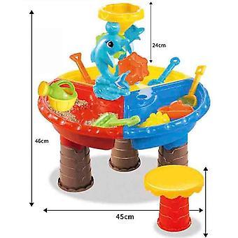 Sand Bucket Water Wheel Table Play Set, Outdoor Beach Sandpit Fun Set