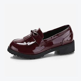 Scarpe derby autunnali piatte da donna, Oxfords Ladies Bowtie Tassel Patent, Pelle