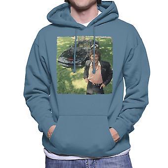 Knight Rider Michael Knight Smiling With KITT Men's Hooded Sweatshirt