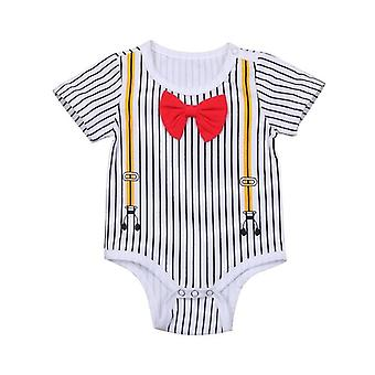 Baby Boy Summer Short Sleeve Striped Bowtie Romper