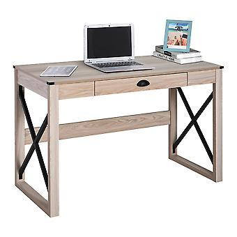 HOMCOM Computer Desk Writing Table with Drawer Home Office Workstation Large Tabletop 112Lx51Wx76Hcm