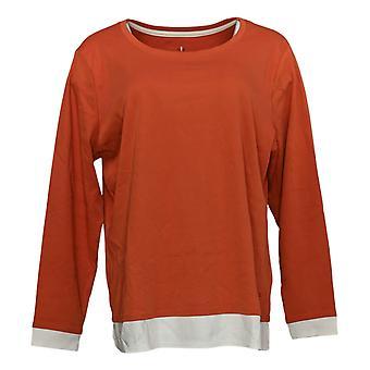 Isaac Mizrahi Live! Women's Top Pima Cotton Layered Orange A384116