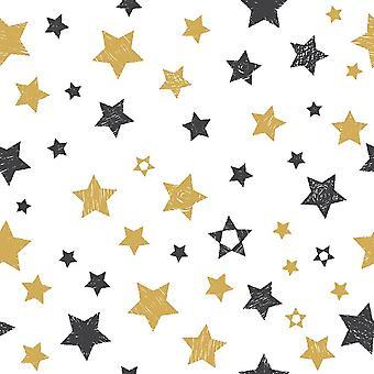 Veelkleurig sterren bedrukt tapijt in polyester, katoen, L80xP120 cm