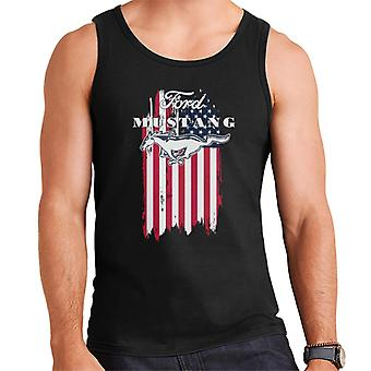 Ford Mustang Faded American Flag Men's Vest